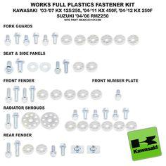 Bolt Plastic Fastener Kit Kawasaki KX 125 250 03-Current