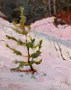 """Daily Paintworks - """"Snoqualmie Pine  plein air landscape painting by Robin Weiss"""" - Original Fine Art for Sale - © Robin Weiss"""