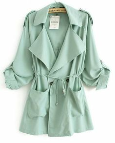 Aokin Womens Spring Large Lapels Belted Coat Slim Trench Coat Jacket (M, Green)