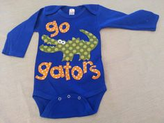 florida gators go gators baby onesie in royal blue