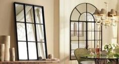 home decor mirrors with faux window look | black window mirrors, arched window mirror with metal frame