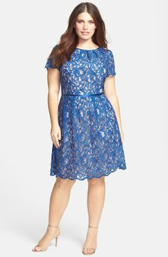 Adrianna Papell Scalloped Lace Dress (Plus Size) on shopstyle.com(pretty blue lace)