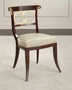 Amie Leather Accent Chair, Brown/Ivory by Ambella at Neiman Marcus. Wooden Dining Room Chairs, Living Room Chairs, Table And Chairs, Furniture Chairs, Side Chairs, Furniture Ideas, Tables, Leather Chair With Ottoman, Chair And Ottoman