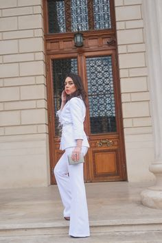 All White outfit feathers