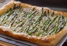 Baby Asparagus, Garlic & Three-Cheese Tart | The Artful Gourmet #recipe #holidays