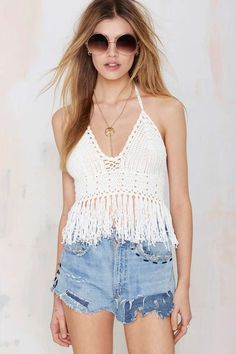 Glamorous Fringe Benefits Crochet Crop Top - Cropped | Tanks