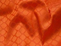 2.25 Meter Orange Silk Jacquard Fabric Banarasi Silk Brocade | Etsy