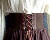 Brown Steampunk / Pirate Buckle belt for budget conscious time travelers - sizes xs sm med lg. $45.00, via Etsy.