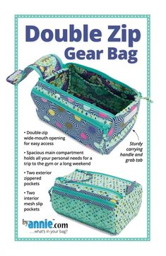 Double Zip Gear Bags from By Annie (Printed Paper Pattern)