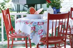 I grew up in Southern Indiana where the best watermelon in the world is grown. My mom had this tablecloth and I still have it.  This pic is beauty to me!