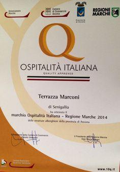 E' motivo di grande orgoglio aver raggiunto anche quest anno il Marchio Ospitalità Italiana - Regione Marche 2014 delle strutture alberghiere della provincia di Ancona.