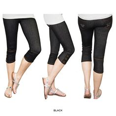 I found this amazing Capri Jeggings With Butterfly Gem Back Pockets and Button Cuff Detail at nomorerack.com for 71% off.