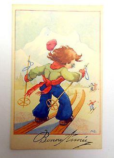 cpa-pk-pc-carte-postale-ancienne-enfant-ski-neige-MB-child-snow-bonne-annee-2