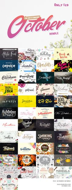 The Outstanding October Bundle is here!! Including over 30 Fonts and 11 Graphics packs for just $29!