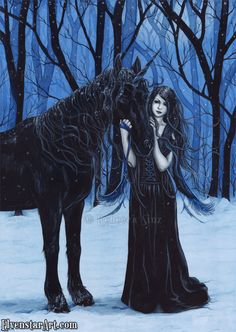 ElvenstarArt is the official online gallery of fantasy, fairy and dark artist Rebecca Sinz. Artwork of fairies, angels and more. often with a gothic edge. Gothic Fee, Gothic Fairy, Black Unicorn, Unicorn Art, My Fantasy World, Dark Fantasy, Unicorn And Fairies, Fantasy Kunst, Fairy Art