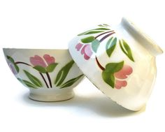 FRENCH VINTAGE Set of 2 Cafe au Lait BOWLS.
