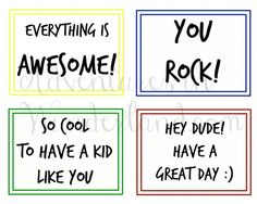 Fun lunch box notes for school aged kids