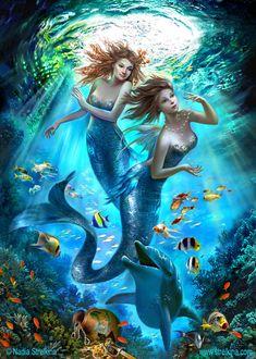 by Fantasy-fairy-angel on DeviantArt - Mermaids by Fantasy-fairy-angel -Mermaids by Fantasy-fairy-angel on DeviantArt - Mermaids by Fantasy-fairy-angel - Mermaid Artwork, Mermaid Drawings, Drawing Ariel, Fantasy Mermaids, Mermaids And Mermen, Paintings Of Mermaids, Fantasy Fairies, Easy Paintings, Beautiful Paintings
