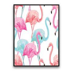 Plakat z flamingami, białe tło, 30 x 40 cm   Bonami