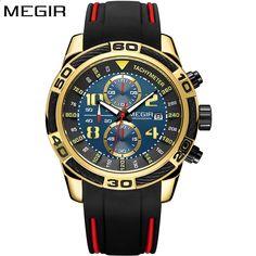 318c96a28 MEGIR Brand Zegarek męski Chronograph Tachymeter Wojskowy Armia Sport Zegarek  kwarcowy Silikonowy Złoty Czarny Zegarek męski
