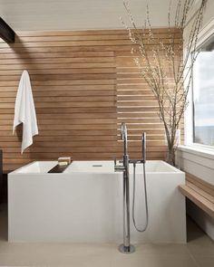 Gorgeous, Naturally Modern Bathroom Design. Sanctuary! Badewanne Holz,  Kleine Badezimmer, Waschbecken
