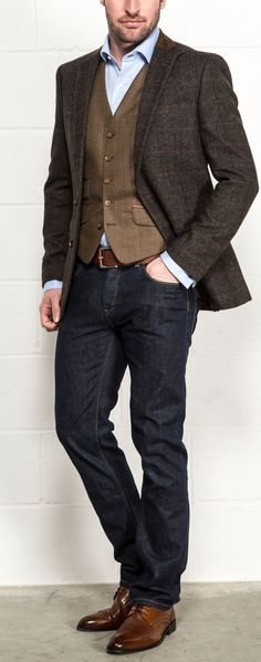 Harry Brown Heritage Blazer with Tweed Waiscoat at Slater Menswear #tweed #blazer #mensfashion