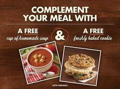 FREE Cup of Homemade Soup & FREE Cookie w/p at Corner Bakery Cafe on http://www.icravefreebies.com/