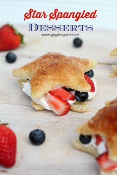 These festive Star Spangled Desserts are a delicious combination of fruit, flaky crust and a fluffy cream, perfect for your of July celebrations! Fourth Of July Food, 4th Of July Celebration, 4th Of July Party, July 4th, Blue Food, 4th Of July Decorations, Star Spangled, Sweet Tooth, Easy