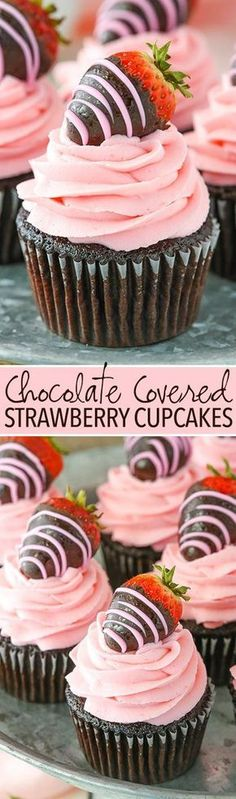 Chocolate Covered Strawberry Cupcakes - easy and perfect for Valentine's Day! Chocolate Covered Strawberry Cupcakes - easy and perfect for Valentine's Day! Just Desserts, Delicious Desserts, Dessert Recipes, Yummy Food, Cupcake Recipes Easy, Simple Recipes, Small Desserts, Cupcake Ideas, Easter Recipes