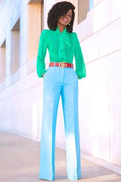 Outfit Details: Blouse: (similar styles here or here (splurge) ) Classy Outfits, Casual Outfits, Cute Outfits, Fashion Outfits, Blue Trousers Outfit, Pants, Color Blocking Outfits, Style Pantry, Tie Front Blouse