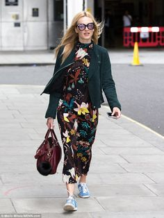 Fashionista: Fearne Cotton, 34, put on a stylish front in a unique floral dress as she hea...