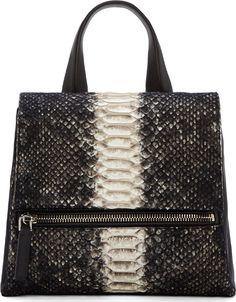 Givenchy Black Wool & Python Small Pandora Satchel Bag