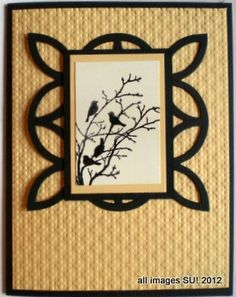 handmade card ... Serene Silhouettes focal point .. luv the framing with the lattice die .. black on ivory ... Stampin' Up!