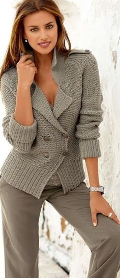 """Fashion New Sweet Lapel Long Sleeve Twist Loose Sweater. [   """"[ribbing on shoulder] -- Coat Color Ladies Button Sweater"""",   """"Ladies Button Sweater in Soft Heather Gray"""",   """"Hand Knit women"""