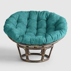 Irresistibly touch-worthy, our stylish, tufted teal papasan chair cushion is an ultra-cozy addition to your papasan chair frame. Double Papasan Chair, Round Wicker Chair, Papasan Cushion, Swivel Chair, Round Outdoor Cushions, Patio Cushions, Living Room Table Sets, Living Room Chairs, Dining Chairs
