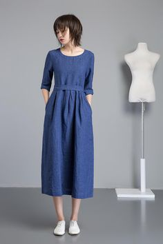 blue linen dress, long fit and flare linen dress for summer, midi sleeves dress for women, handmade fashion blue casual linen dress Dress For Summer, Long Summer Dresses, Simple Dresses, Dress Long, Women's Dresses, Linen Dresses, Blue Dresses, Plain Dress, Midi Dress With Sleeves