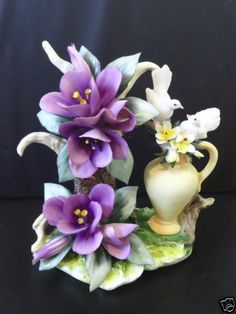 Capodimonte Itialian Porcelain Purple Flower Figurine with Two Doves on Vase | eBay