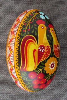 Goose Pysanka,Real Ukrainian Easter Egg, Pysanka,Rooster & Chicken Design #Eggs