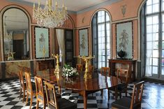 The Dining Room at Château de Malmaison, Rueil-Malmaison, France. Château de Malmaison was the residence of Empress Joséphine. The floor is black and white marble.