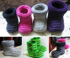 Crochet Baby Booties Striped Baby Crochet Booties Free Pattern - You are going to love this collection of Crochet Ugg Booties Pattern Free Ideas and we have the knitted version too. Be sure to watch the video also. Knitted Baby Boots, Crochet Slipper Boots, Crochet Baby Shoes, Crochet Baby Booties, Crochet Slippers, Baby Booties Knitting Pattern, Baby Booties Free Pattern, Baby Knitting Patterns, Crochet Patterns