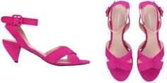 Hot pink kitten heels with an ankle strap - this is EXACTLY what I want under my wedding dress!