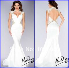 Wholesale 2014 Evening Dress - Buy High Quality Customized Size V Neck Cap Sleeves White Satin Mermaid Evening Dress Backless Prom Gown Sexy Fashion, $125.24 | DHgate