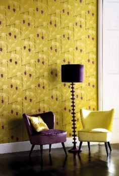 purple and chartreuse decor Baby Room Design, Wall Design, House Design, Interior Design, Luxury Interior, Interior Decorating, Decorating Ideas, Yellow, Decorating Rooms