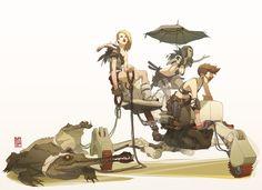 A few illustrations by Sergi Brosa who fuses concept art, manga and fantasy ideas and reminds me of artists like Koji Morimoto: Art And Illustration, Creative Illustration, Magazine Illustration, Character Concept, Character Art, Concept Art, Comic Kunst, Comic Art, Art Sculpture