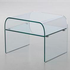 Comodino in Vetro curvato con ripiano NIGHT 53x44xh41 cm spessore 10 mm trasparente | Stilcasa-new | Stilcasa.Net: tavolini da salotto