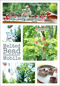 Melted Bead Suncatcher.  Arrange single layer of transluscent pony beads in muffin tins or cake pan.  Bake in oven at 400 for 25-30min (open all windows) or bake outside in grill or toaster oven.