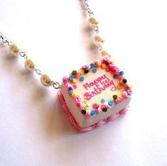 Birthday Cake Necklace Happy Birthday Necklace by FatallyFeminine