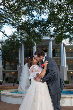 Disney Fairy Tale Wedding portraits on Disney's Port Orleans - Riverside Oak Manor Lawn