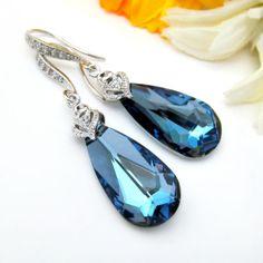 Dark Blue Earrings Rare Swarovski Crystal Maliblue Earrings Teardrop Dangle Earrings Something Blue Bridesmaid Gift Sapphire Peacock Jewelry on Etsy, $39.99