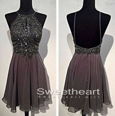 A-line Beaded Backless Short Prom Dresses, Formal Dresses, cute homecoming dresses